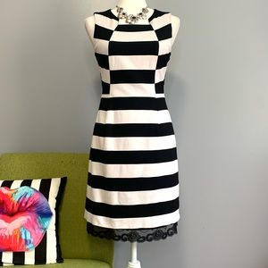 Trina Turk Marsha Black White Striped Sheath Dress